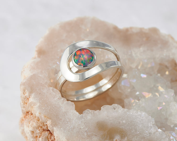 fire opal silver wrap ring in quartz