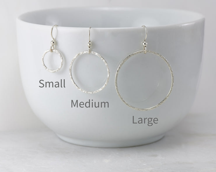 silver hoop earrings small, medium, large