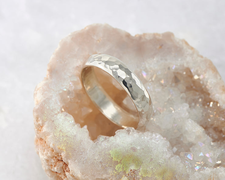 hammered silver simple ring in geode