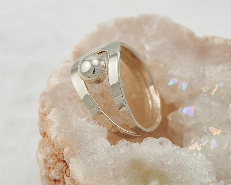 modern silver wrap ring in geode