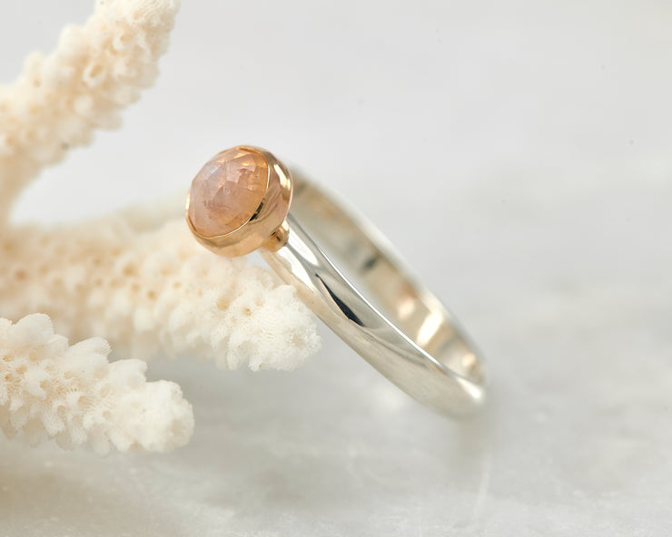 moonstone engagement ring on coral
