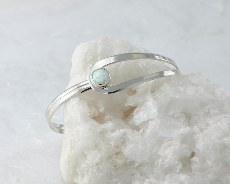 opal bracelet silver wrapped around white rock