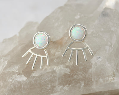 silver opal ear jacket stud earrings on quartz