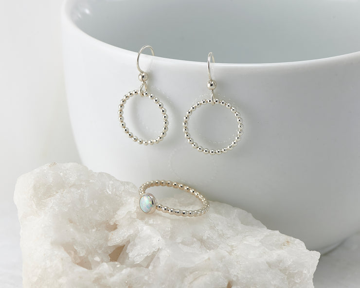 silver beaded earrings and matching opal ring
