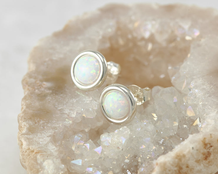 opal silver stud earring in quartz