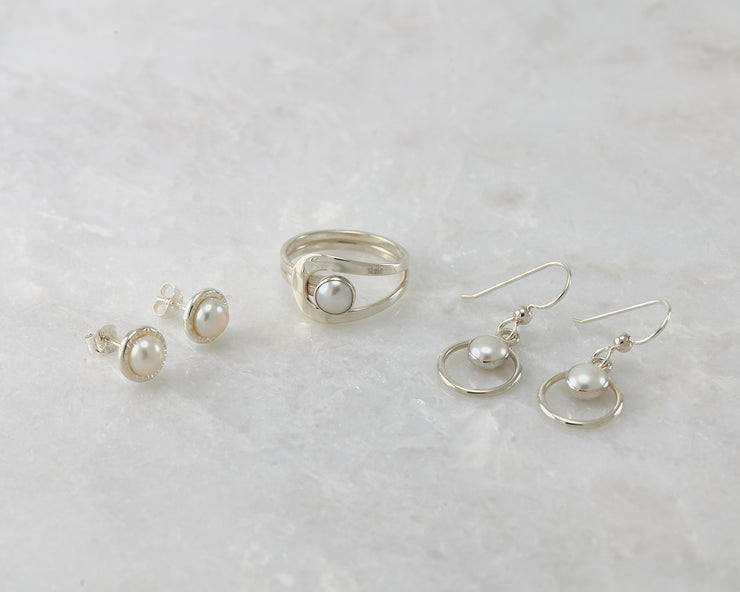 Pearl Ring and Pearl Earrings Jewelry set