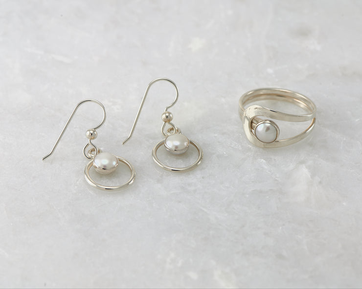 silver pearl hoop earrings and matching pearl silver ring