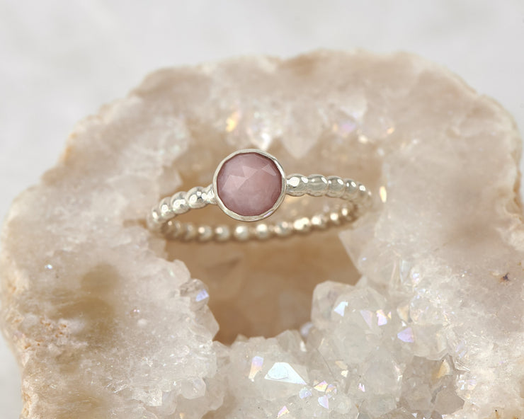 peruvian pink opal silver beaded ring in geode