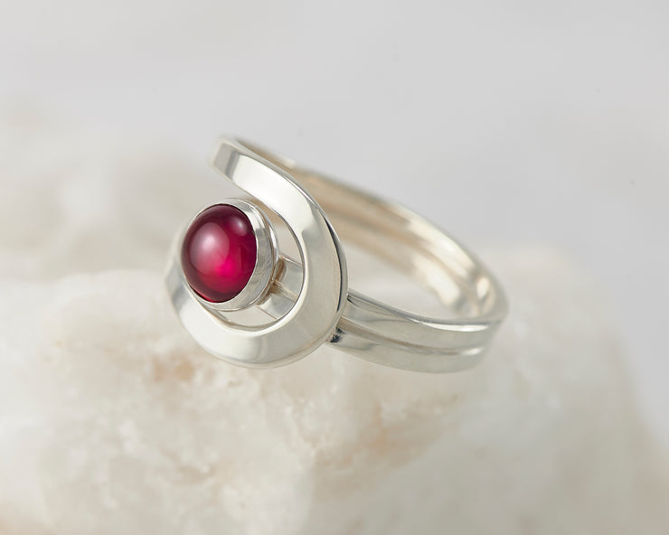 Silver ruby wrap ring on white rock