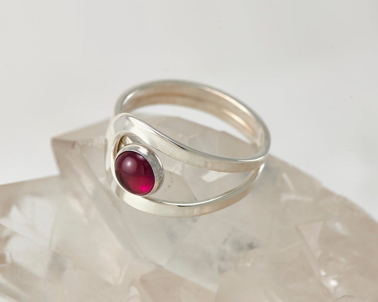 ruby wrap ring on crystal rock