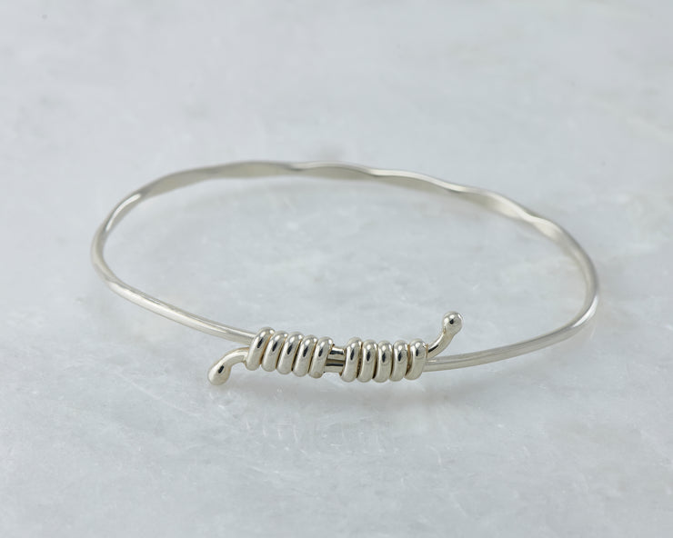 bangle bracelet adjustable silver open on marble