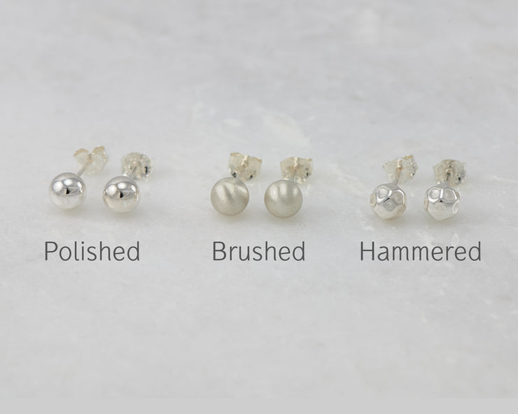 Silver stud earring finishes in polished, brushed, hammered
