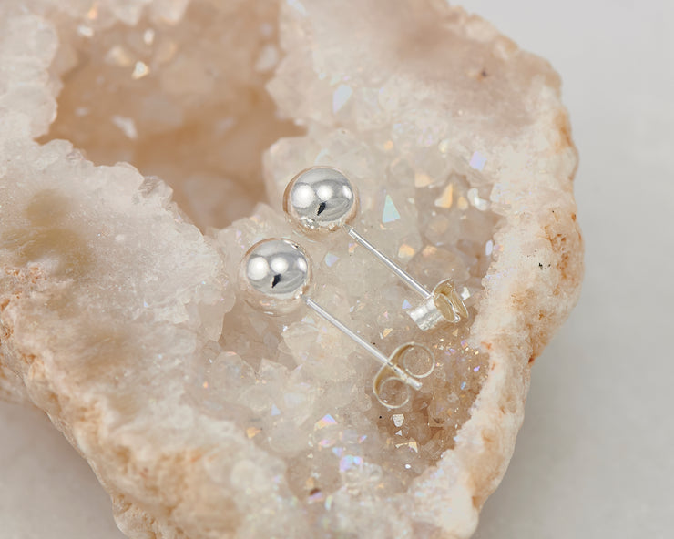 stud silver polished earring in quartz