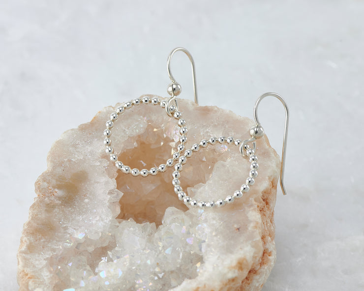 beaded circle hoop silver polished earring in quartz