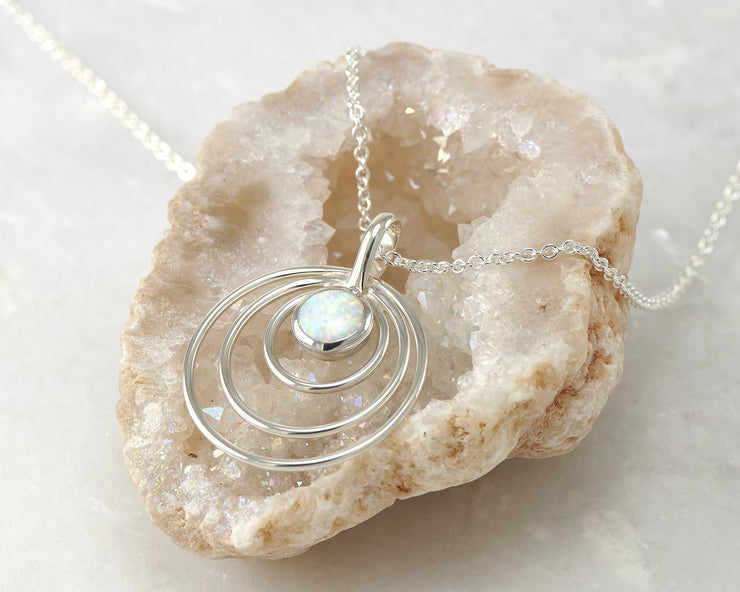 opal circles necklace on quartz
