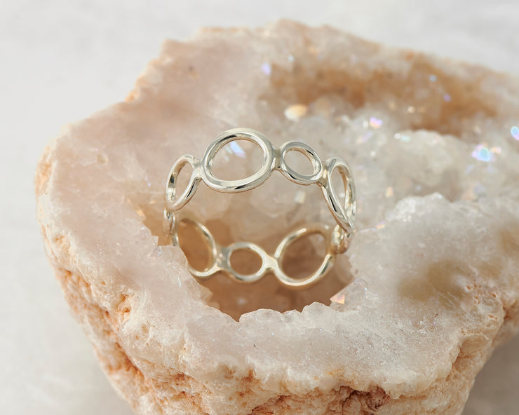 circles silver statement ring in geode