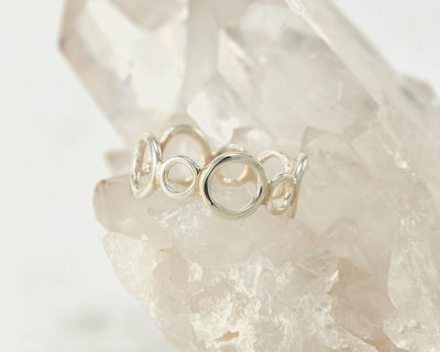 Silver statement ring on crystal rock
