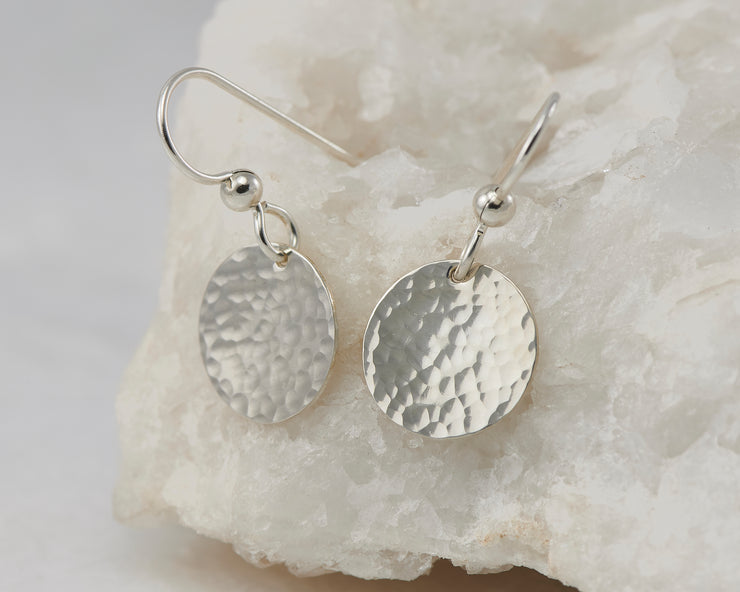 Silver Dangle Earrings Hammered Disc