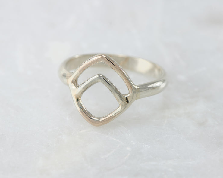 Chevron Geometric ring on white marble