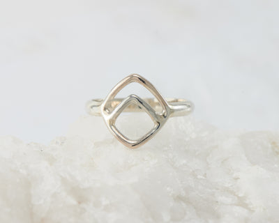 Silver geometric chevron ring on white rock