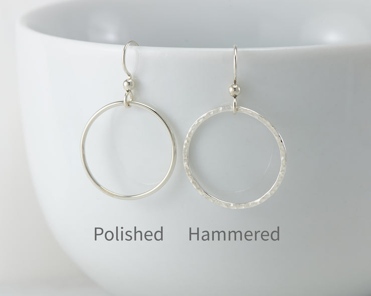 silver hoop earring finish styles: polished & hammered