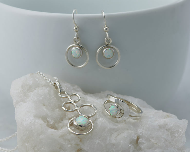 Silver opal circles jewelry set