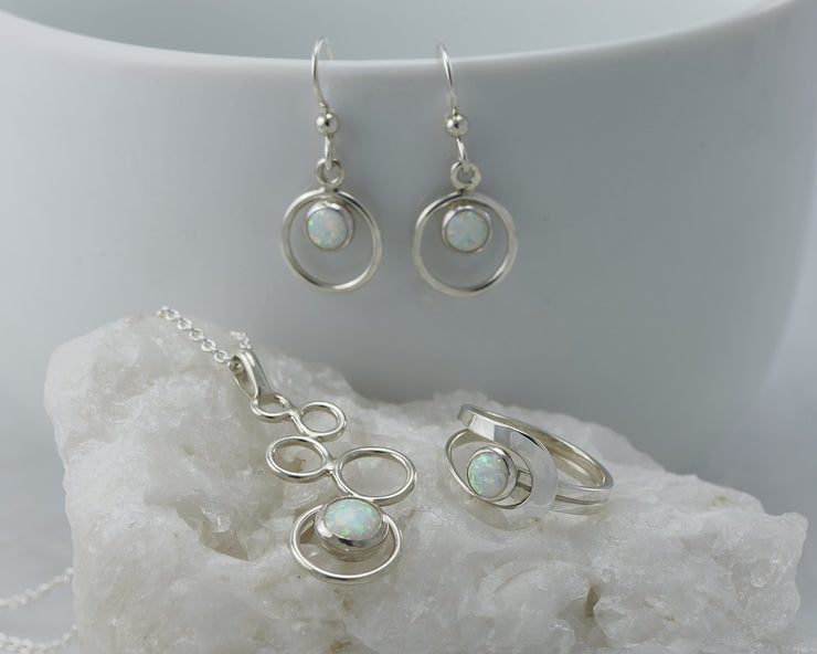 full opal silver jewelry set
