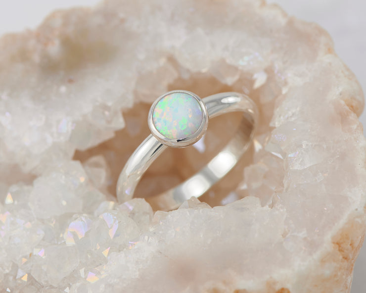 central opal ring in quartz