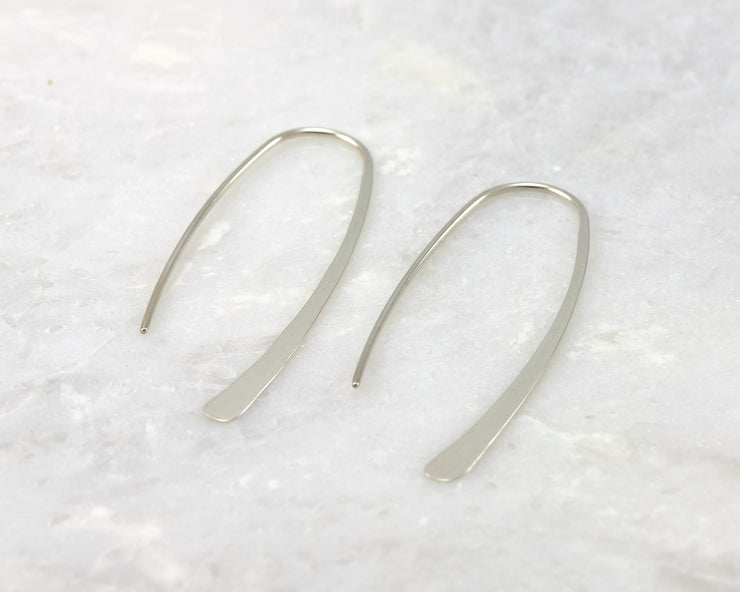 Silver Dangle Earrings Open Hoop