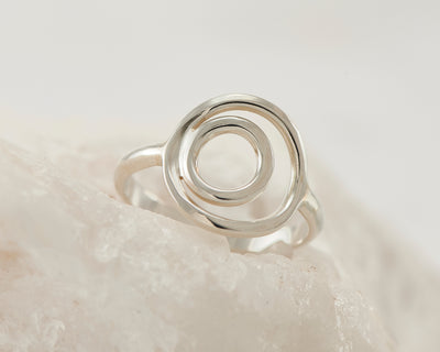 silver circles ring on white rock