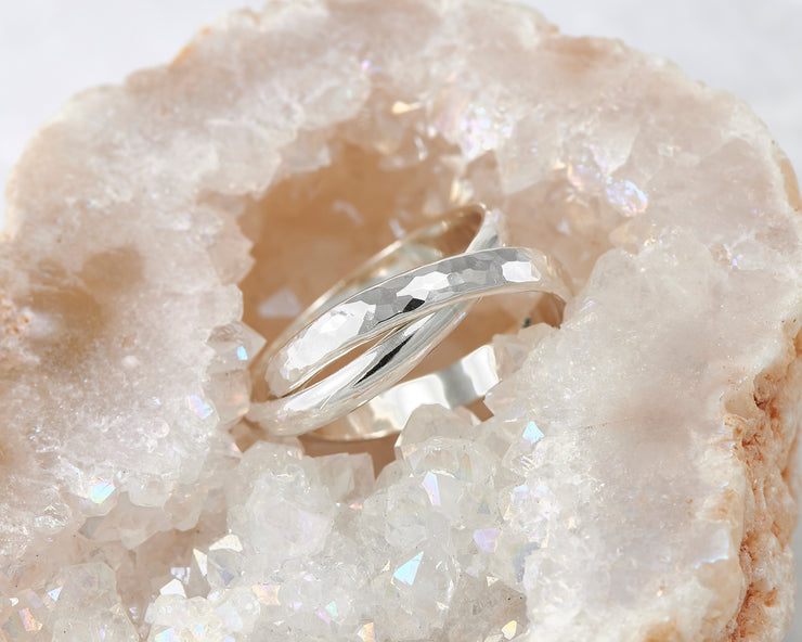 silver interlocking russian wedding rings in quartz