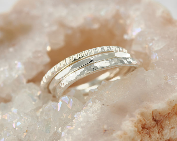hammered silver stacking rings in quartz