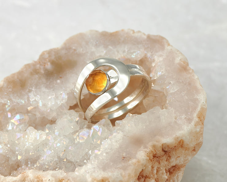 citrine silver wrap ring in quartz