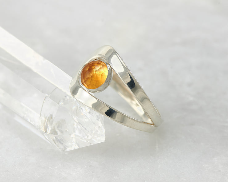 citrine wrap ring on crystal