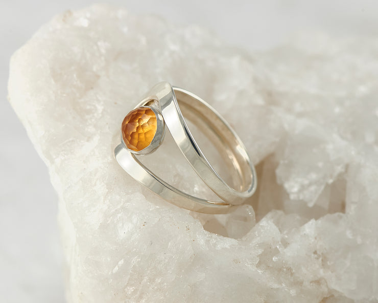 Silver citrine wrap ring on white rock