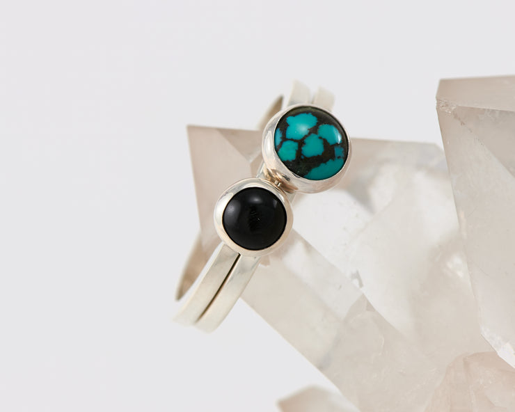 silver stacking rings turquoise and black onyx ring on crystal rock