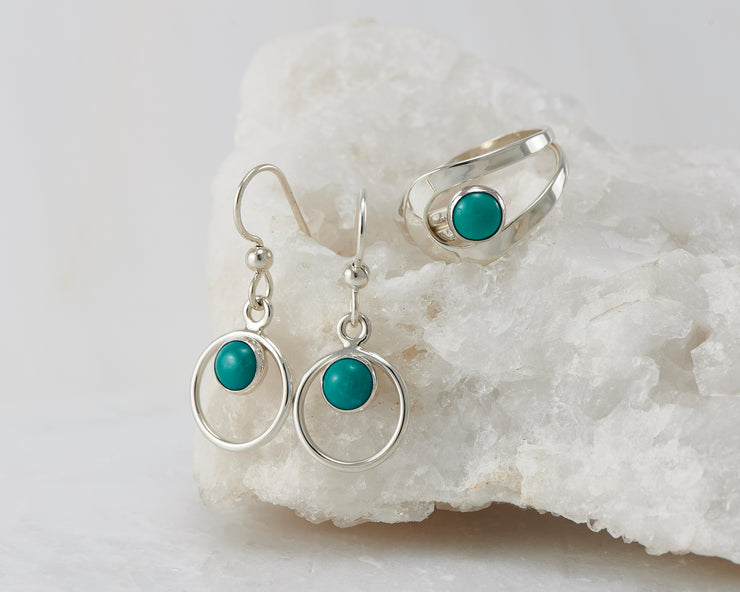 Turquoise dangle earrings and matching ring