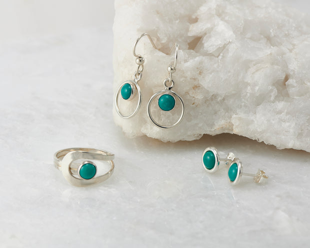 turquoise silver ring and earrings