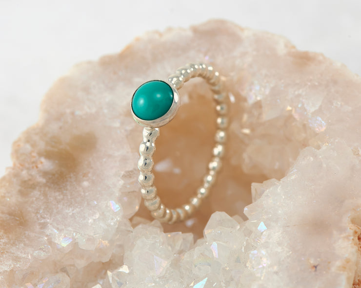 turquoise silver beaded ring in quartz