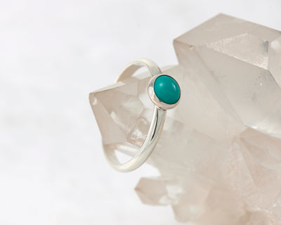 silver turquoise ring on crystal rock