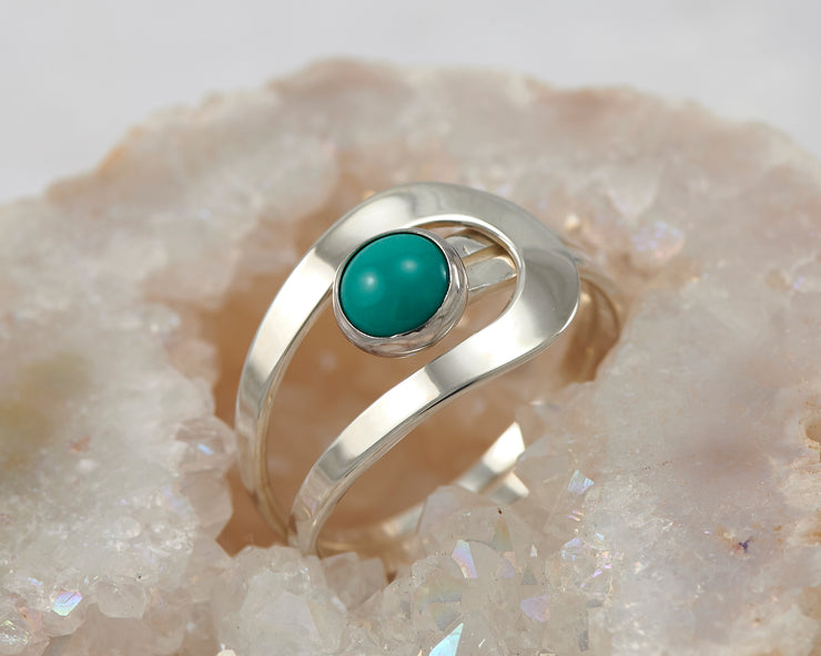 turquoise silver wrap ring in geode