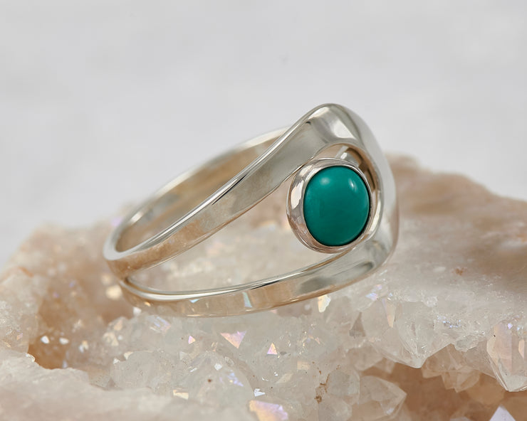 turquoise silver wrap ring on quartz