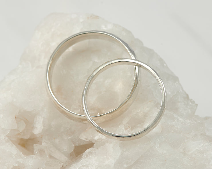 top down view of wedding ring set
