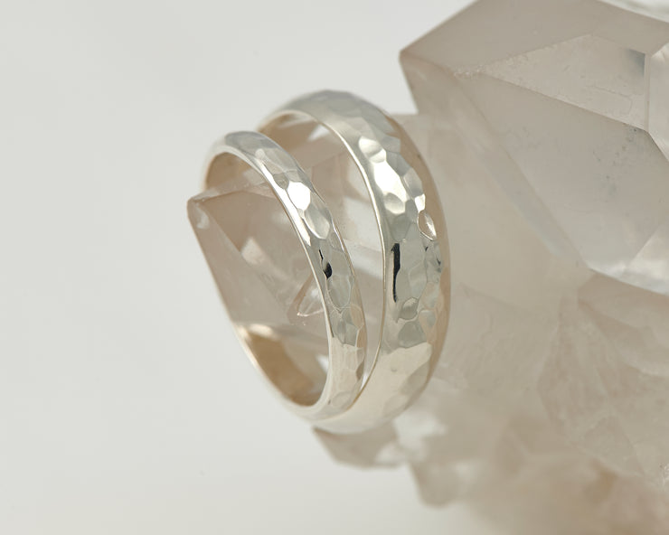 wedding band set on crystal