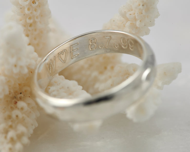 Custom ring engraving on coral