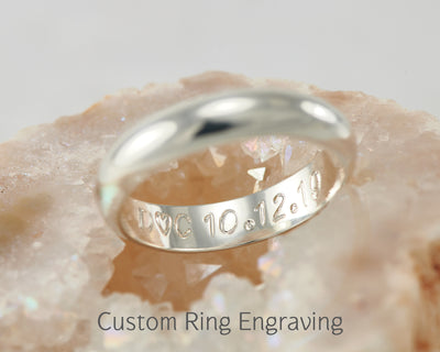 wedding ring engraving shown on crystal rock