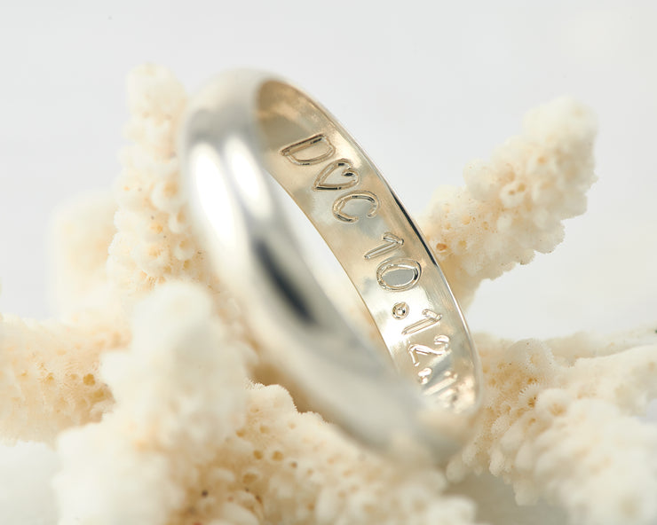 Custom wedding band engraving inside ring