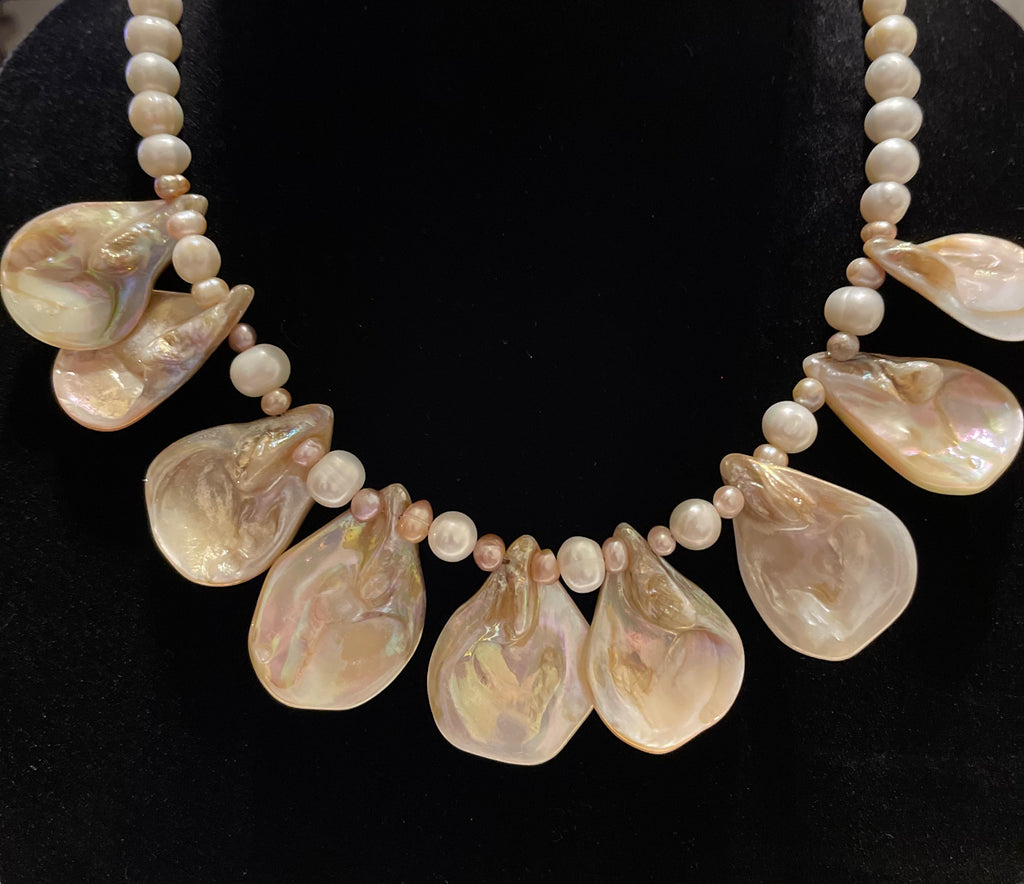 Cream colored Petal Shaped Abalone and Pearl Necklace