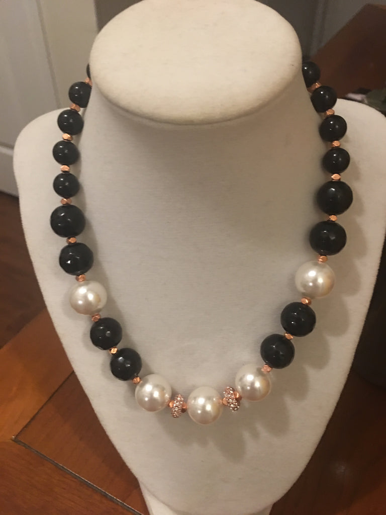 Necklace of Black Onyx and Mother of Pearl with Rose Gold Accents