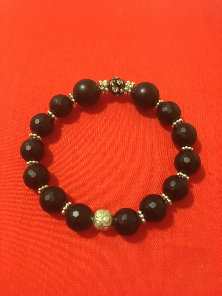 Black Onyx Stretch Bracelet with Silver and Rhinestone Accents